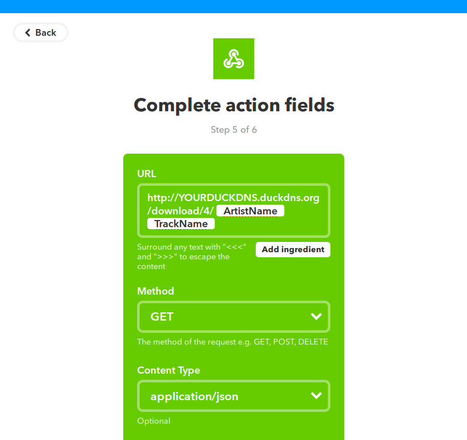 Setting up an applet with IFTTT